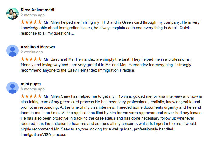3 kind Reviews of Saev Hernandez Immigration Practice