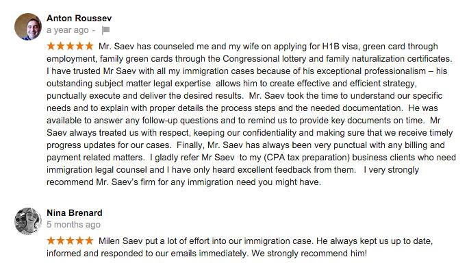 3 more Reviews of Saev Hernandez Immigration Practice