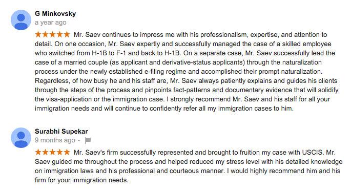 2 more Reviews of Saev Hernandez Immigration Practice