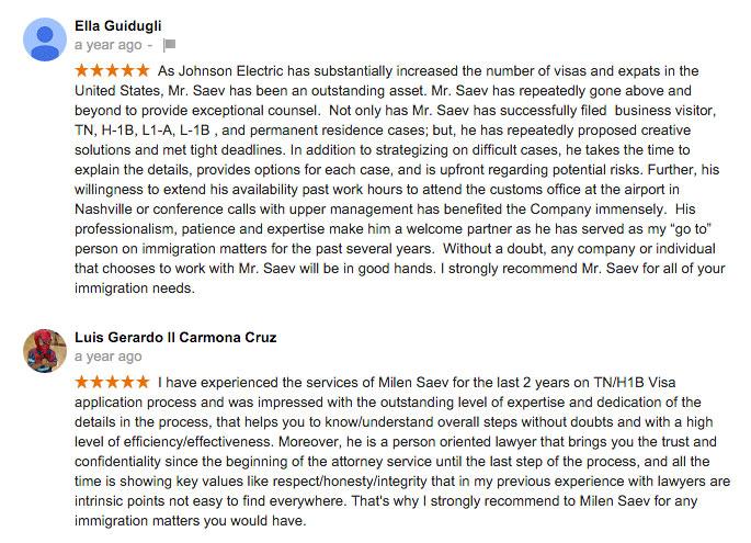 2 Reviews of Saev Hernandez Immigration Practice