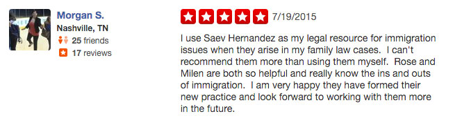 Yelp Review of Saev Hernandez Immigration Practice